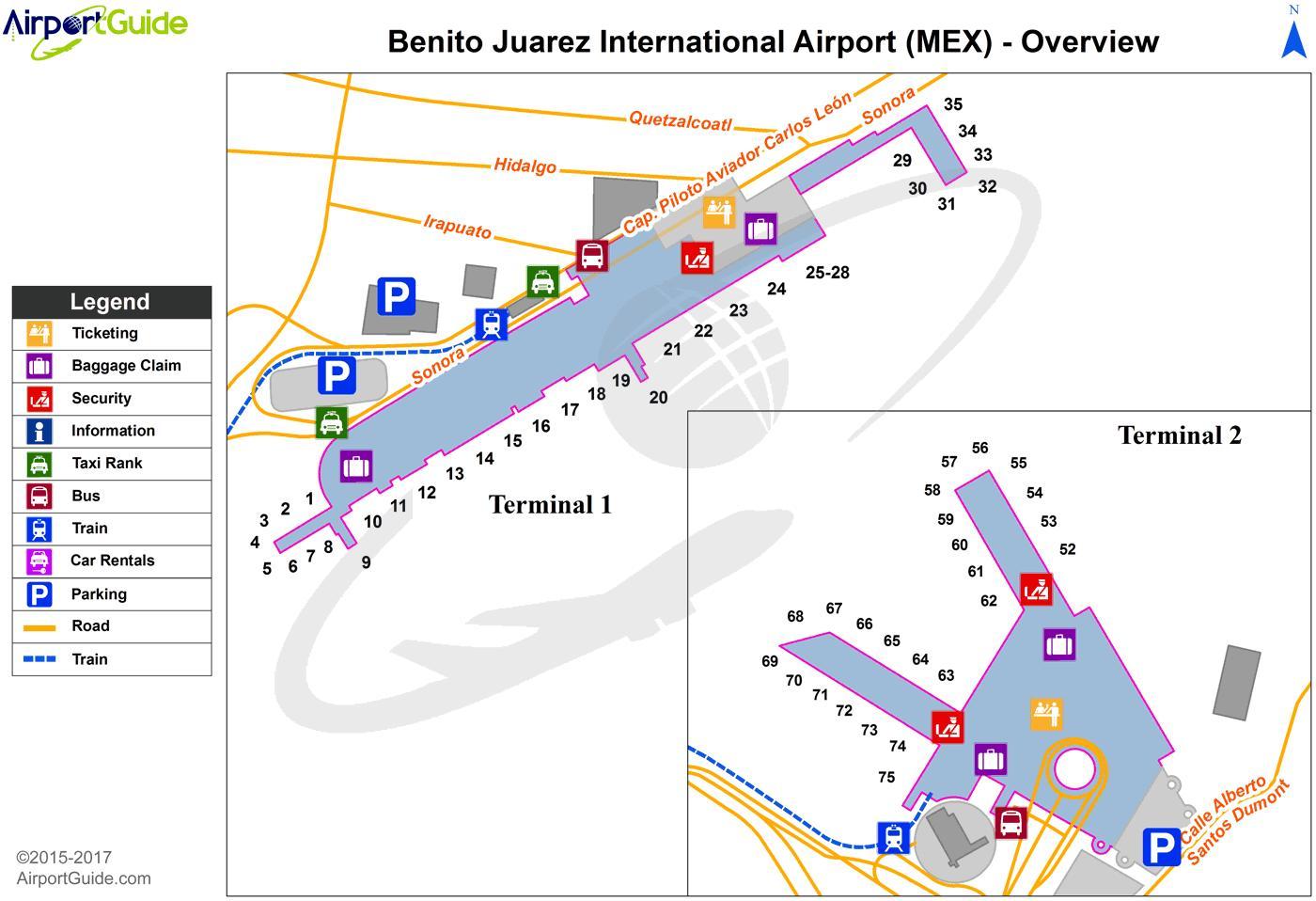 Mexico City Lentokentta Kartta Terminaali 1 Mexico City