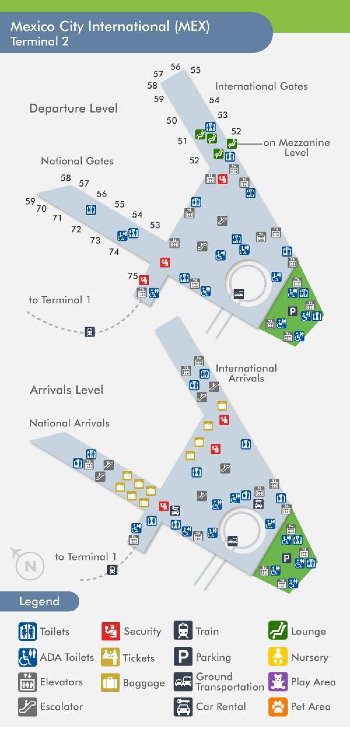 Mexico City Lentokentta Kartta Terminal 2 Mex Terminaali 2